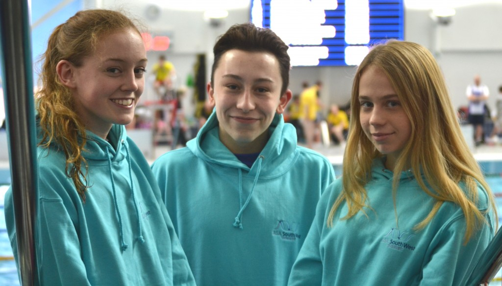 Emily, Tomas and Grace from Swindon ASC at South West Regional Championships 2016