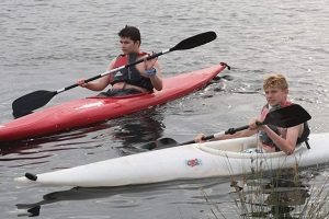 Lake BBQ 2018 - James and Aaron canoeing