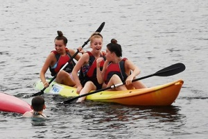 Lake BBQ 2018 - Libby, Olivia and Georgie on the lake