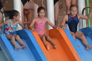 Pool Party 2018 - Molly, Jess and Niamh on slides